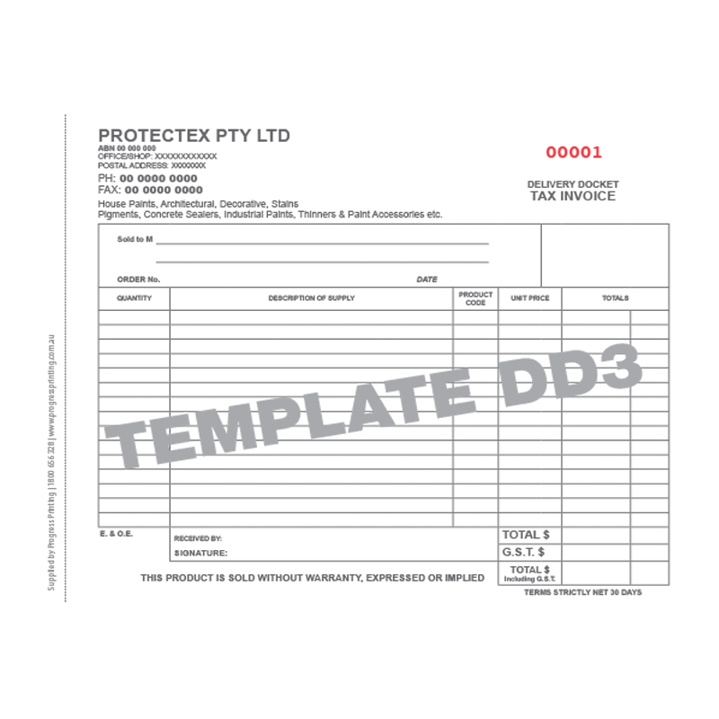 Delivery Docket Template from progressprinting.com.au